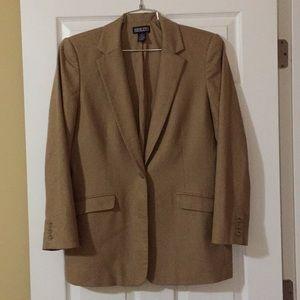 Lands End Lined Tan Wool Sz 14 Blazer - Like New!